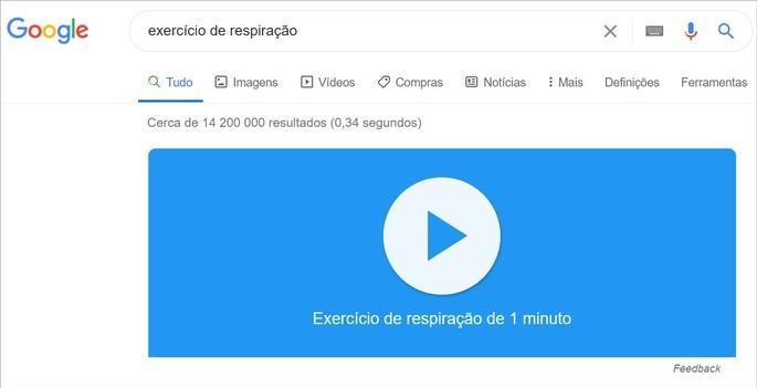 Execício de respiração de um minuto disponibilizado na pesquisa do Google
