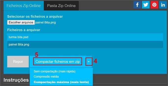 Opções de compactamento de arquivos no site ezyZip