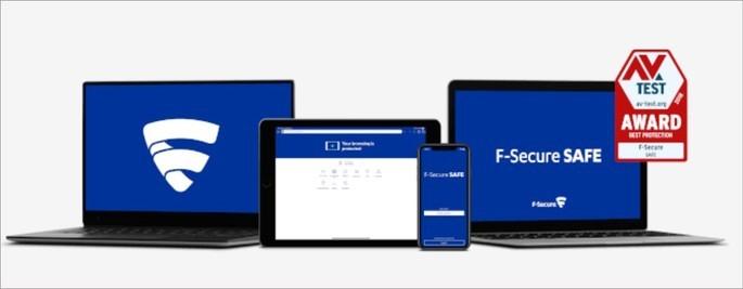 Dois notebooks, um smartphone e um tablet com a tela ligada exibido o programa F-Secure SAFE