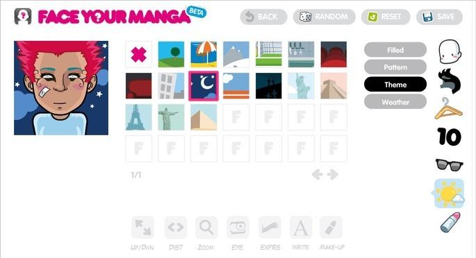 Site de criação de avatar no estilo anime Face Your Manga