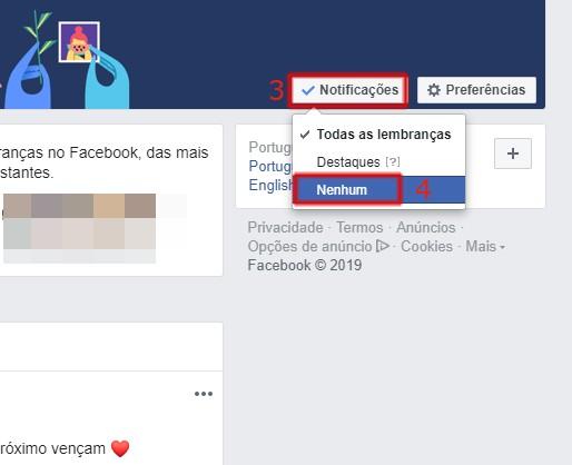 Desativar Lembranças Facebook no PC