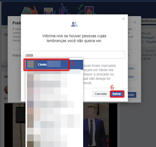 Desativar lembranças do Facebook no PC