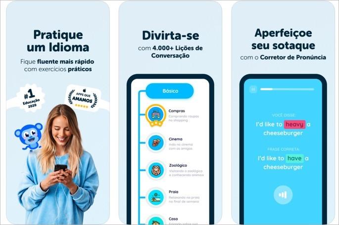 Imagem de divulgação do app de idiomas Falou