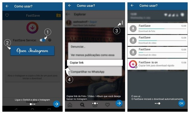 Download de fotos e vídeos com o FastSave for Instagram