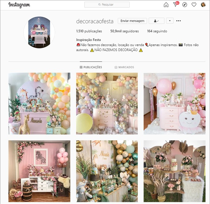 feed harmônico de perfil de decoração do Instagram
