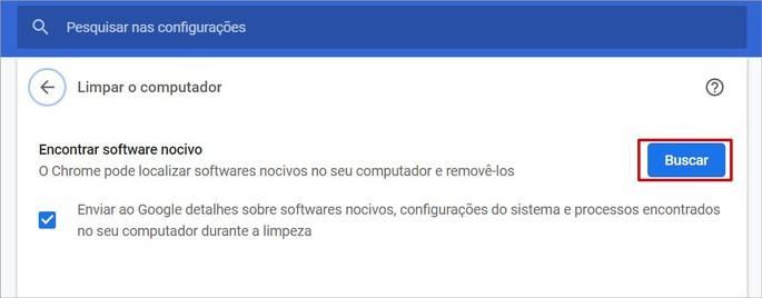 Ferramenta de antivírus nativa do Chrome