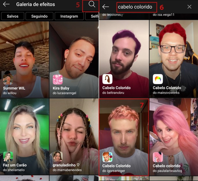 Busca por filtro de cabelo colorido no Instagram