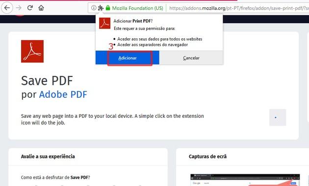 Baixar site para PDF no Firefox