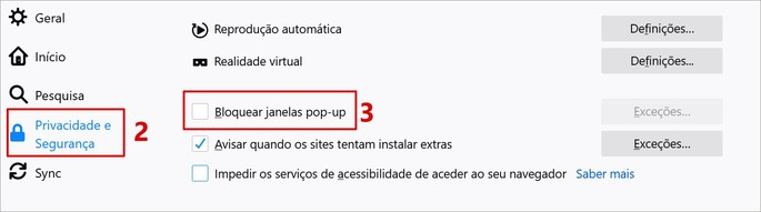 Configurações de pop up do Firefox