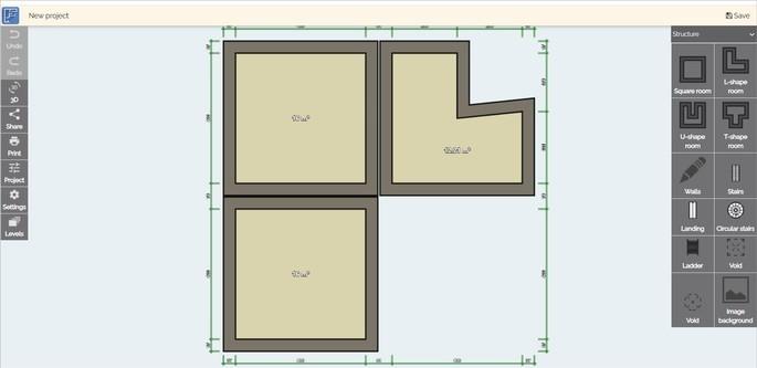 Ferramenta de criaçao de plantas baixas do site Floor Plan Creator