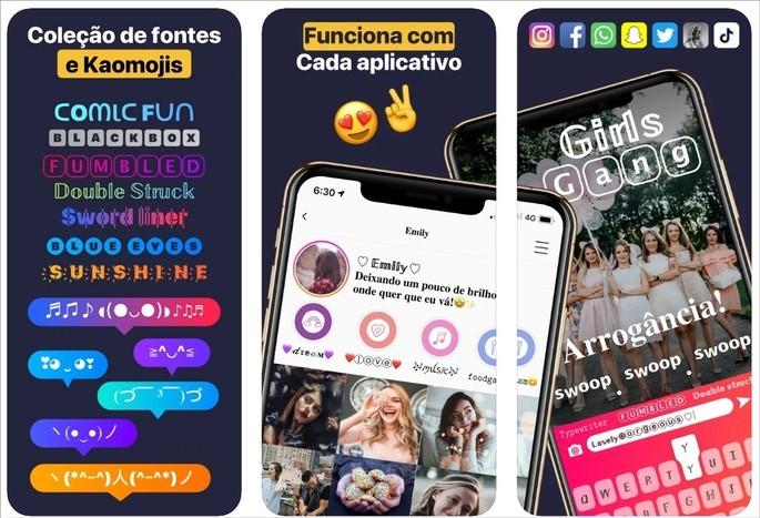 App Font Changer oferece fontes e opção de inserir texto em imagem