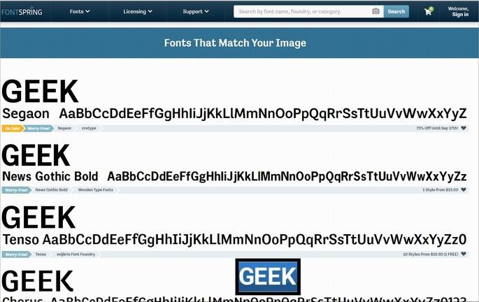 Captura de tela do site Font Spring