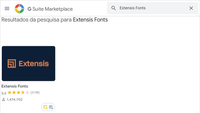 Captura do app Extensis Fonts na loja do GSuite