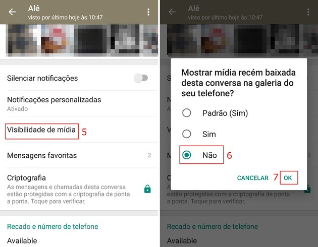 Não salvar fotos e vídeos do WhatsApp na galeria do celular