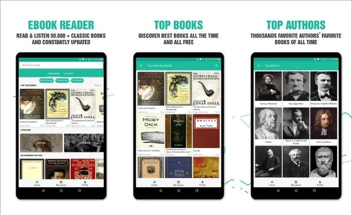 Imagem de divulgação do app Free Books Gutenberg