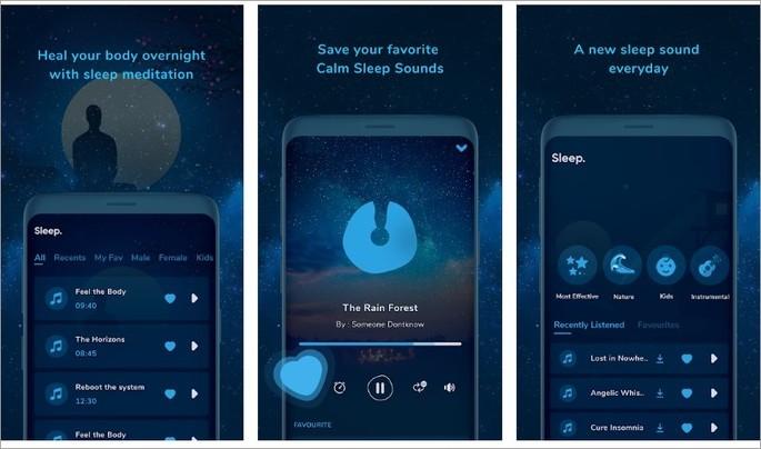 Imagem de divulgação do app Free Calm Sleep na Play Store