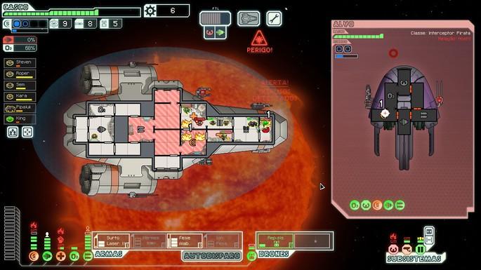 Imagem de divulgação do jogo de simulador de nave espacial FTL: Faster than Light