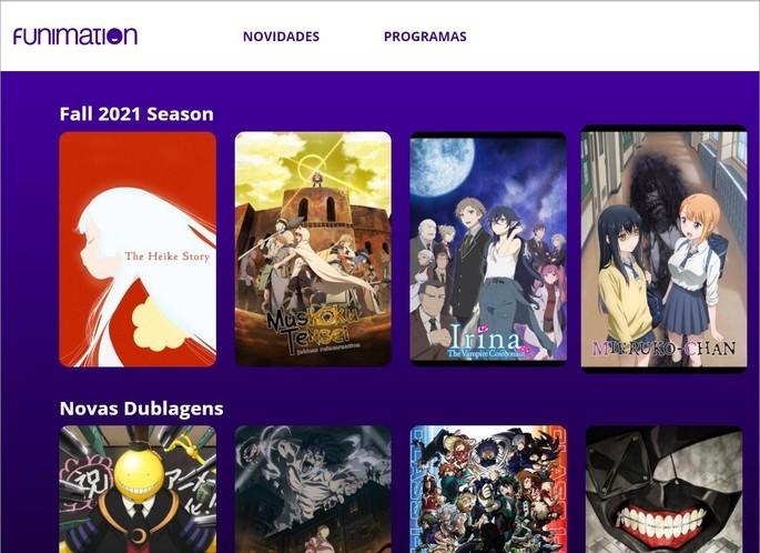 Captura de tela do site Funimation