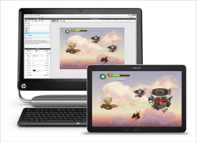 Programa Gamesalad rodando em um PC e um tablet