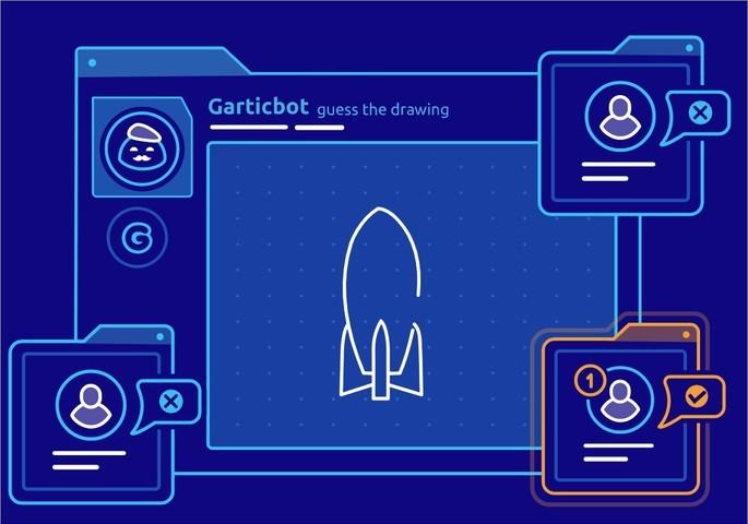 Imagem de divulgação do bot de jogos para Discord GarticBot