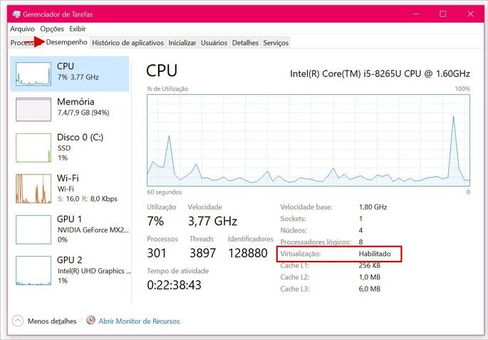 Onde encontrar se virtualização está habilitada ou não no Gerenciador de Tarefas do Windows