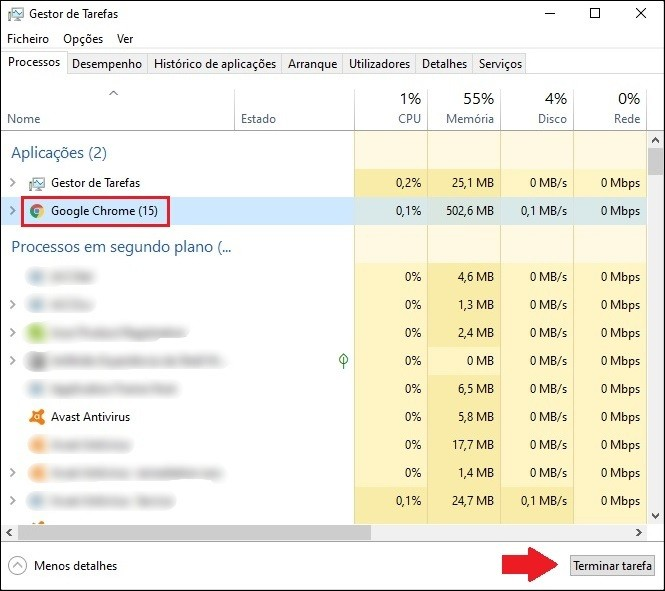 Fechar o Google Chrome pelo Gerenciador de tarefas