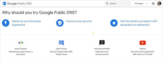 Página do Google Public DNS