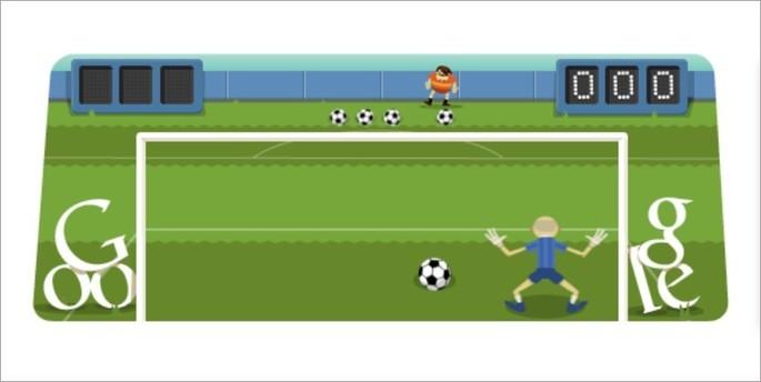 Doodle do Google para defender bolas de futebol