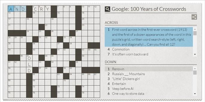 Google do Doodle de palavras cruzadas