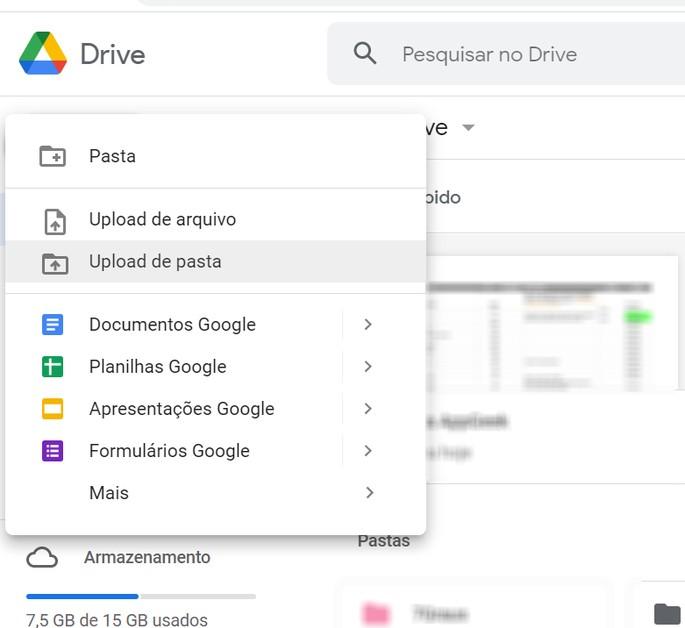 Como fazer o upload de pastas ou arquivos no Google Drive