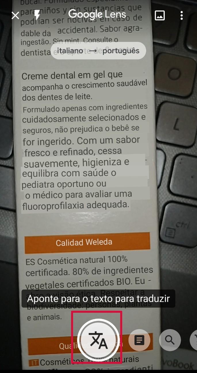 Ferramenta de tradução do app Google Lens