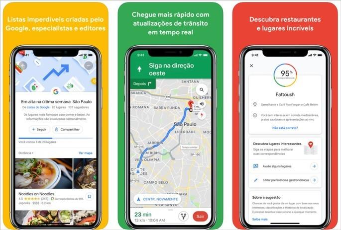 App de viagem Google Maps para mapas e recomendações