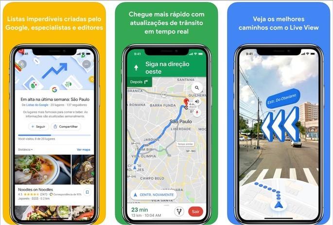 Imagens de divulgação do Google Maps na App Store