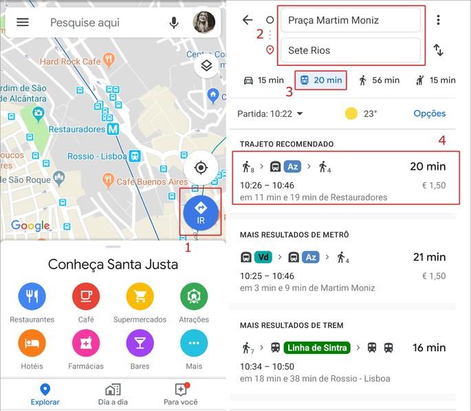 Google Maps apps ônibus