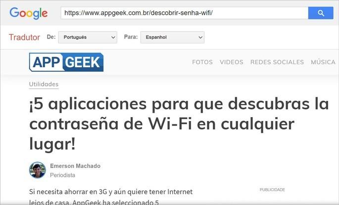 Tradução automática de sites no Google Tradutor