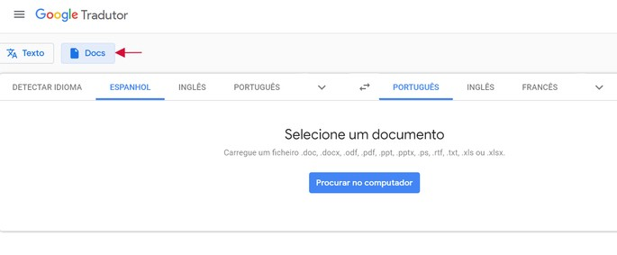 Tradução de documento do Google Tradutor