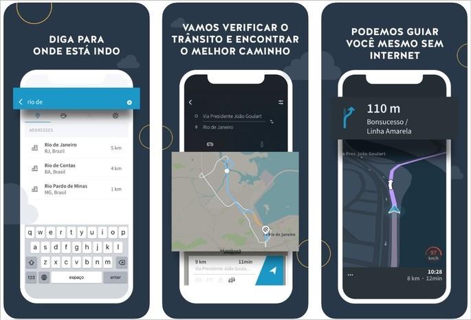 Imagens de divulgação do app GPS Brasil na App Store