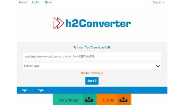 H2 Converter - Baixar vídeos do Youtube em MP3