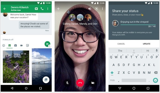 Mensagens instantâneas e videochamada com o Hangouts