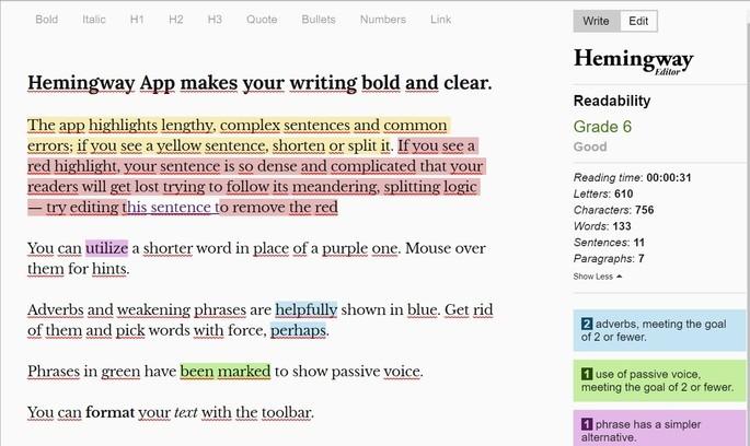 Editor de texto online Hemingway App