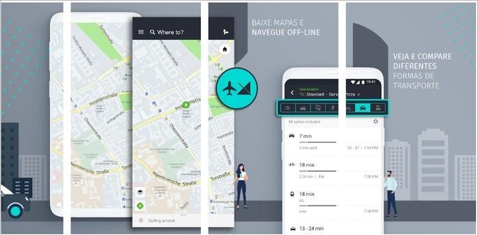 Imagem de divulgação do app de GPS offline HERE WeGo