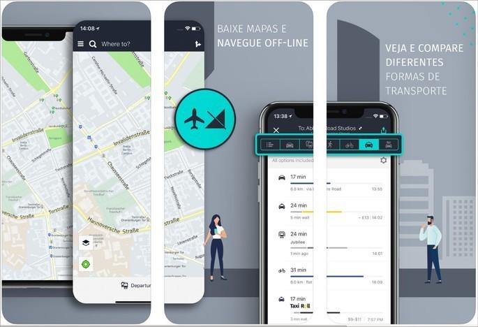 Imagens de divulgação do app Here WeGo na App Store