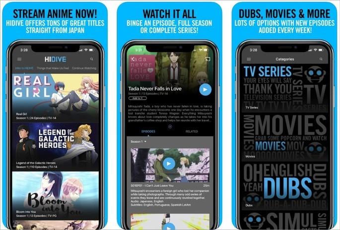 Imagem de divulgação do app de streaming de animes Hidive