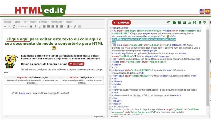 Interface do editor de texto online HTMLed.it
