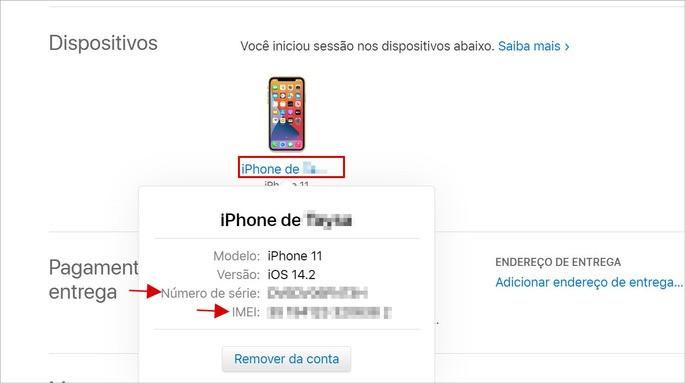 Como descobrir o IMEI e o número de série pelo ID Apple