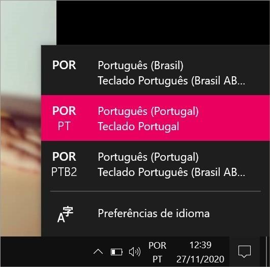 Opções de idioma do teclado no Windows