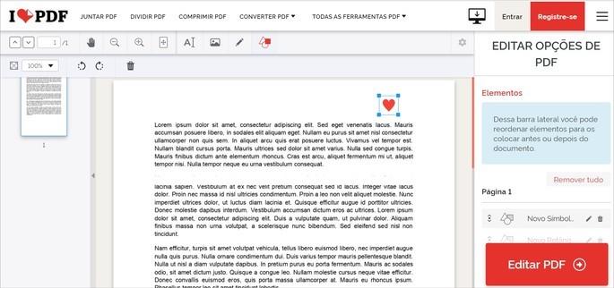 Editor de PDF do iLovePDF