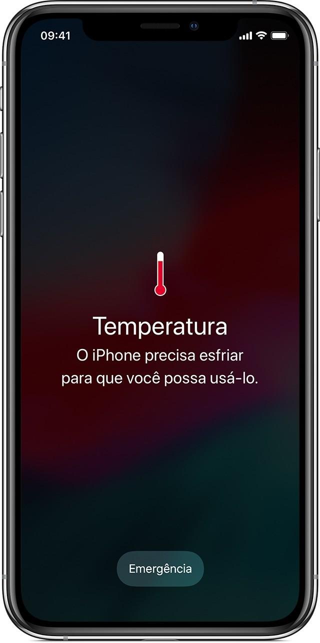 captura de tela do iPhone indicando superaquecimento