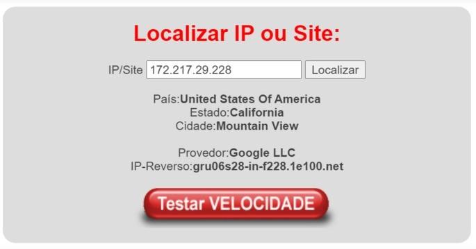 Site LocalizaIP identifica localização de servidores do Google