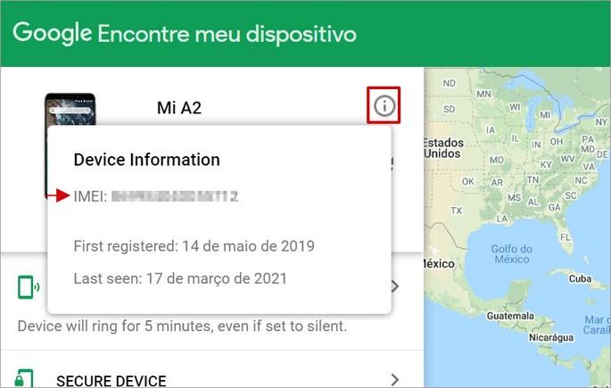 Como encontrar o IMEI pelo serviço Encontre meu Dispositivo do Google